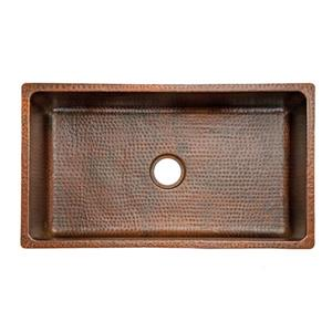 Premier Copper Products 33-in Copper Single Basin Sink with Drain