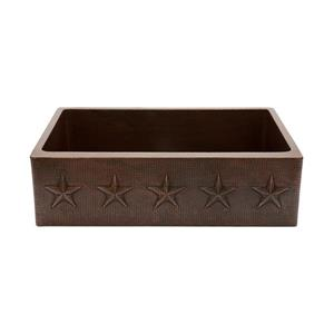 Premier Copper Products 33-in Copper Apron Star Single Sink with Drain