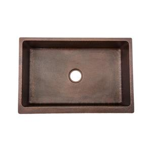 Premier Copper Products 33-in Copper Apron Vineyard Sink with Drain