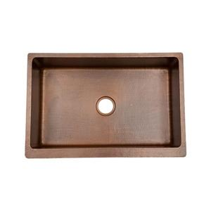 Premier Copper Products 33-in Antique Copper Single Basin Apron Kitchen Sink with Drain