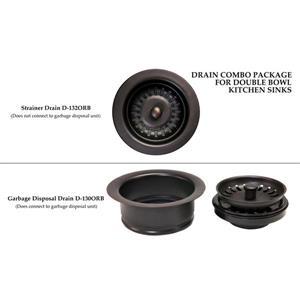 Premier Copper Product 33-in Copper Double Basin Apron Barrel Strap Sink with Drain