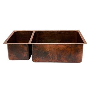 Premier Copper Products 33-in Copper Kitchen Sink with Drain