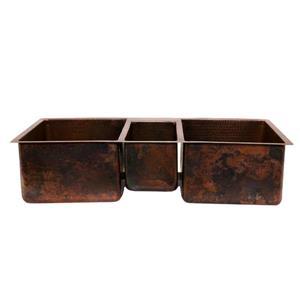 Premier Copper Products 42-in Triple Bowl Sink