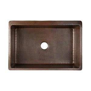 Premier Copper Products 33-in Copper Apron Fleur De Lis Sink