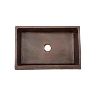 Premier Copper Product 30-in Copper Single Basin Apron Barrel Strap Kitchen Sink
