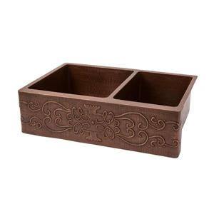 Premier Copper Products 33-in Apron 60/40 Double Basin Scroll Sink