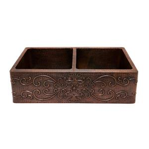 Premier Copper Products 33-in Apron Double Basin Scroll Sink