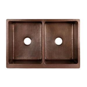 Premier Copper Products 33-in Antique Copper Apron Double Kitchen Sink