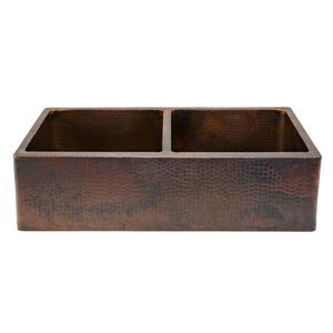 Premier Copper Products 33-in Apron Double Basin Sink