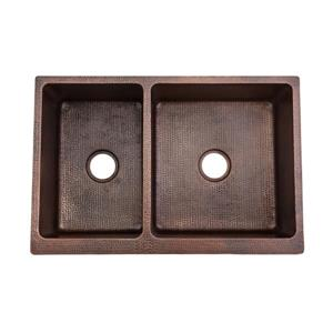 Premier Copper Products 33-in Apron 40/60 Double Basin Sink