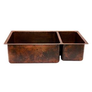 Premier Copper Products 33-in Copper Double Basin Kitchen Sink