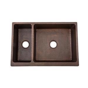 Premier Copper Products 33-in Copper Apron Double Basin Sink
