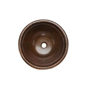 Premier Copper Products Round Self Rimming Sink with Single Handle Faucet and Drain Hammered Copper Oil Rubbed Bronze 17-in