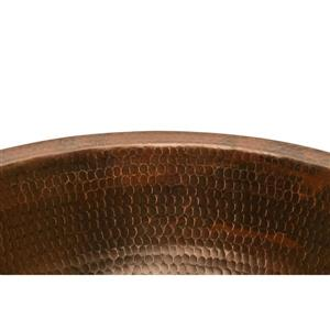 Premier Copper Products Round Under Counter Sink with Single Handle Faucet and Drain Hammered Copper Oil Rubbed Bronze 17-in