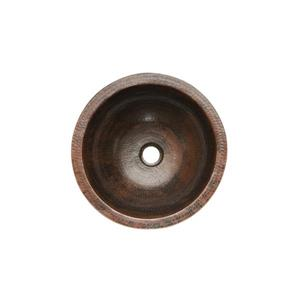 Premier Copper Products Round Under Counter Sink WIth Single Handle Faucet and Drain Hammered Copper Oil Rubbed Bronze 14-in