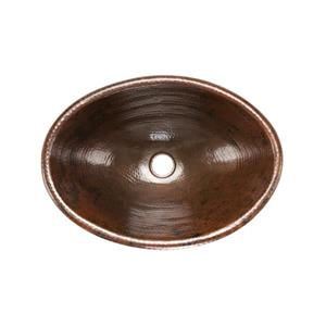 Premier Copper Products Oval Copper Sink With Faucet And Drain