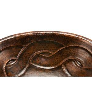 Premier Copper Products Oval Braid Sink with Faucet and Drain - Copper