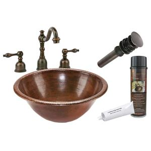 Premier Copper Products Round Self Rimming Sink with Faucet and Drain Hammered Copper Oil Rubbed Bronze 17-in