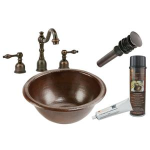 Premier Copper Products 14-in Round Self Rimming Sink and Faucet set - Hammered Copper