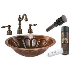 Premier Copper Products Sunburst Sink with Faucet and Drain - Copper