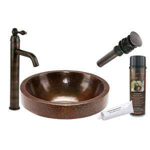 Premier Copper Products Round Skirted Vessel Sink with Faucet and Drain Hammered Copper Oil Rubbed Bronze 17-in