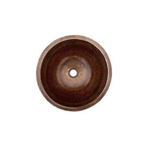 Premier Copper Products Round Skirted Vessel Sink with Faucet and Drain Hammered Copper Oil Rubbed Bronze 15-in