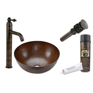 Premier Copper Products 13-in Round Sink with Faucet and Drain - Hammered Copper