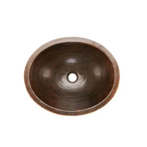Premier Copper Products Oval Skirted Sink with Faucet and Drain - Cooper