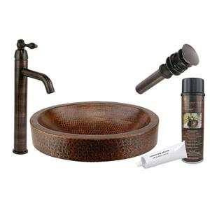 Premier Copper Products Oval Skirted Sink with Faucet and Drain - Copper