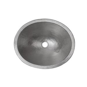 Premier Copper Products Oval Silver Sink With Faucet And Drain