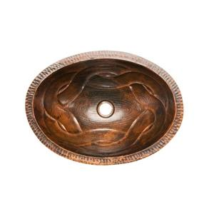 Premier Copper Products Oval Sink with Braided Pattern - Copper