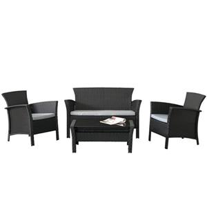 Corliving Cascaded Charcoal Black 4 Piece Weave Patio Set Lowe S Canada