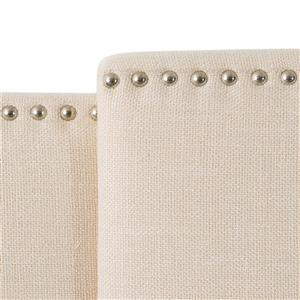 CorLiving Expandable Panel 55.00-In x 63.00-In  Cream Padded Fabric Headboard