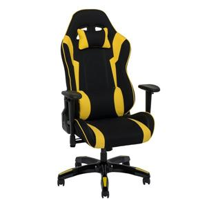 CoreLiving 33.50-in x 29.00-in Black And Yellow High Back Ergonomic Gaming Chair