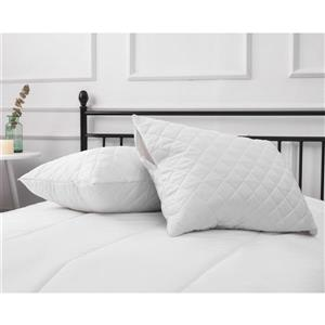 Milano Collection 20-in x 34-In White Quilted Pillow Protector