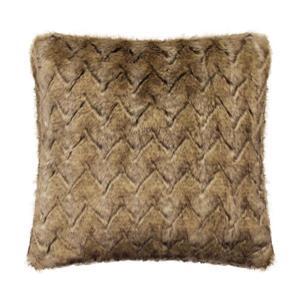 Millano 18-in Brown Wolf Faux Fur Decorative Cushion