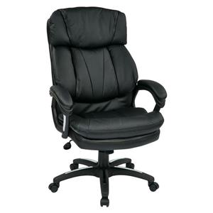 Work Smart™ 22.00-in x 23.00-in Black Faux Leather Chair