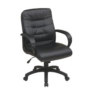 Work Smart™ 22.00-in x 20.25-in Black Faux Leather Chair