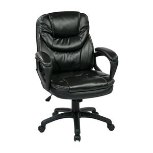 Work Smart™ 22.00-in x 21.25-in Black Faux Leather Chair with Padded Arms