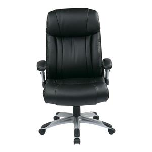 Work Smart™ Black Leather Chair with Adjustable Arms