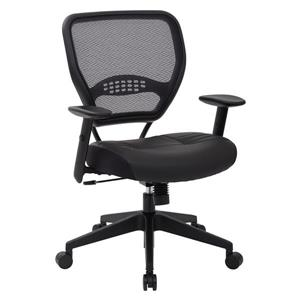Space Seating® Black Office Chair with Leather Seat