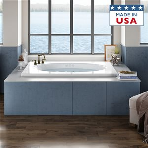 Jacuzzi Primo 60-in L x 42-in W x 21-in H Almond Acrylic Oval In Rectangle Drop-in Bathtub with Reversible Drain