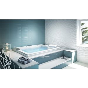 Jacuzzi Primo 60-in L x 60-in W x 21-in H Almond Acrylic 2-Person Corner Drop-in Air Bath with Center Drain