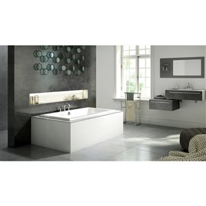 Jacuzzi Primo 60-in L x 60-in W x 21-in H White Acrylic 2-Person Corner Drop-in Air Bath with Center Drain