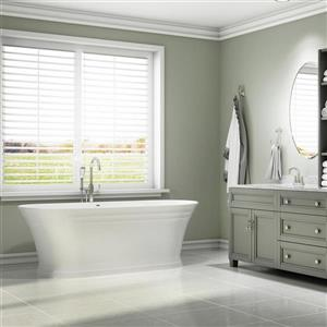 Jacuzzi Lyndsay 59-in L x 31-in W x 24-in H White Acrylic Oval Freestanding Bathtub with Center Drain