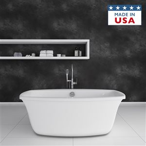 Jacuzzi Primo 66-in L x 34-in W x 24-in H Almond Acrylic Oval Freestanding Bathtub with Center Drain