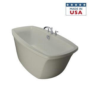 Jacuzzi Primo 66-in L x 34-in W x 24-in H White Acrylic Oval Freestanding Bathtub with Center Drain
