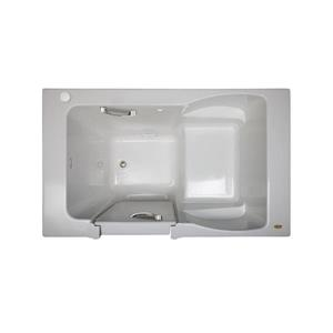 Jacuzzi Finestra 60-in L x 30-in W x 38.5-in H Almond Acrylic Rectangular Walk-In Air Bath with Left-Hand Drain
