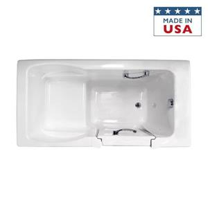 Jacuzzi Finestra 60-in L x 30-in W x 38.5-in H Almond Acrylic Rectangular Walk-in Bathtub with Left-Hand Drain