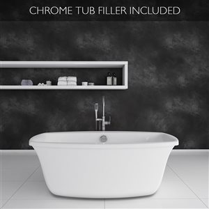 Jacuzzi Inizio 66-in L x 36-in W x 24-in H White Acrylic Oval Freestanding Bathtub with Center Drain